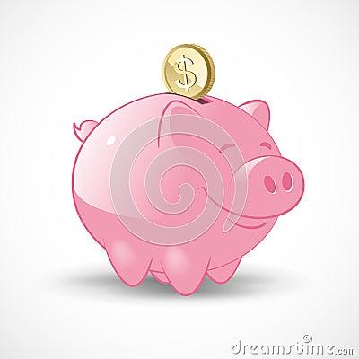 Glückliche Piggy Querneigung