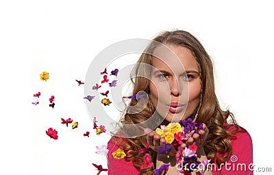 Glücklicher Frühling oder Sommer-Frau
