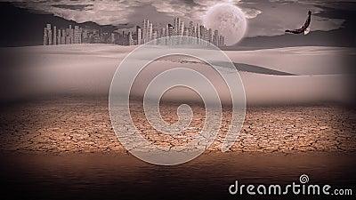 Gleaming silver desert city