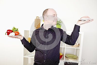 Man making a choice on food and diet
