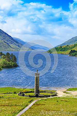 Free Glenfinnan Monument And Loch Shiel Lake. Highlands Scotland Royalty Free Stock Image - 30049836