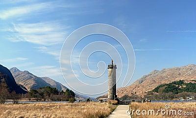 Glenfinnan monument on the shore of Loch Shiel