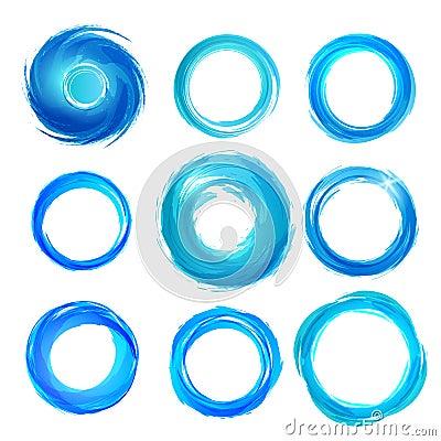 Gli elementi di progettazione in blu colora le icone. Insieme 5
