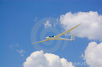 Glider airplane in the sky