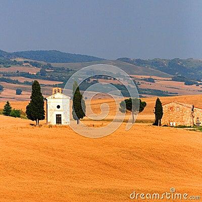 Église dans le domaine de blé