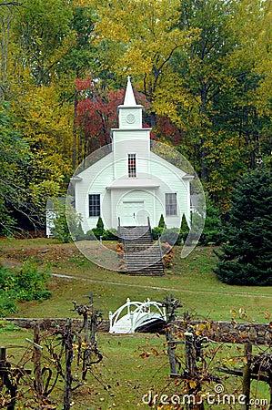 Église de pays avec l arbre de raisin