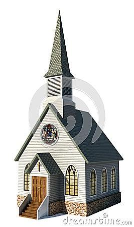 Église sur le blanc