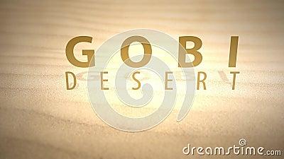 Glissement à travers les dunes animées chaudes de désert avec le texte - désert de Gobi clips vidéos