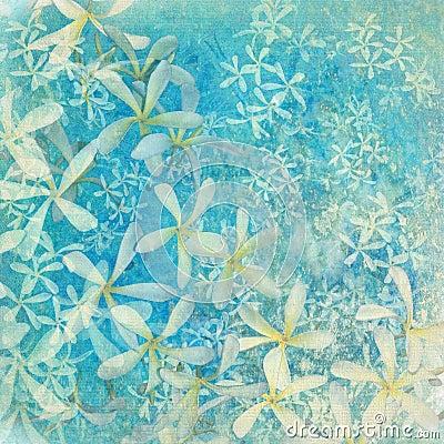 Glistening blue flower textured art background