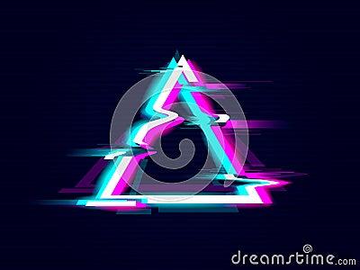 Glitched Triangle Frame Design. Distorted Glitch Style Modern Background Vector Illustration