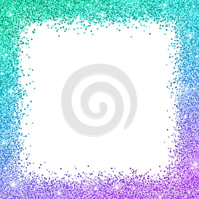 Free Glitter Border Frame With Turquoise Blue Purple Color Effect. Vector Royalty Free Stock Images - 107239639