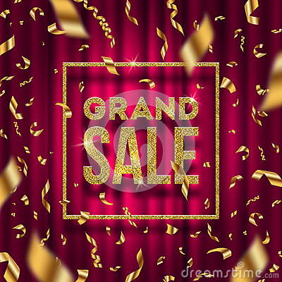 Free Glitter Gold Grand Sale Sign Stock Photography - 93677872