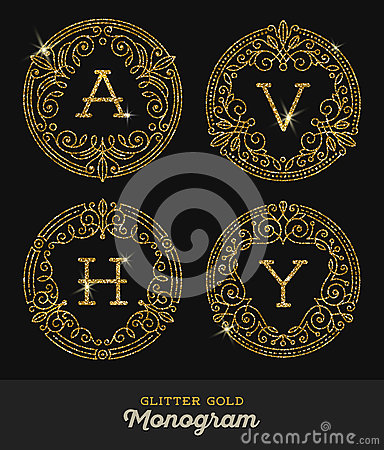 glitter gold ornamental frames with monogram