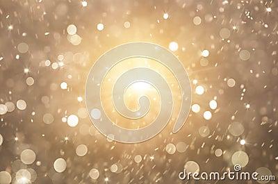 Glitter golden lights background, christmas lights and abstract blinking stars Stock Photo