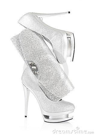 Glitter silver shoes and clutch bag