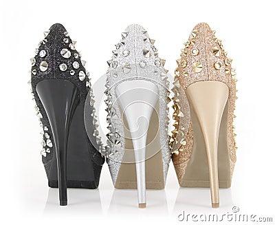 Glitter spiked heels