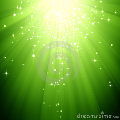 Free Glitter Stars Descending On Green Light Burst Royalty Free Stock Photography - 11867107