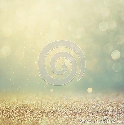 Glitter vintage lights background. gold, silver, blue and black. de-focused. Stock Photo
