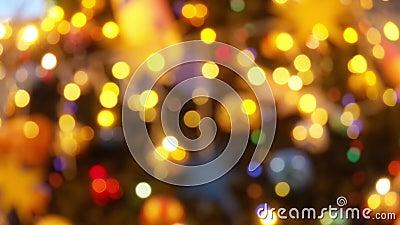 Glittering Bliższe światła Lights on Fir Tree New Year and Christmas Tree Decorations Piękny zdjęcie wideo