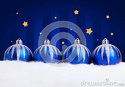 Glittering blue christmas balls