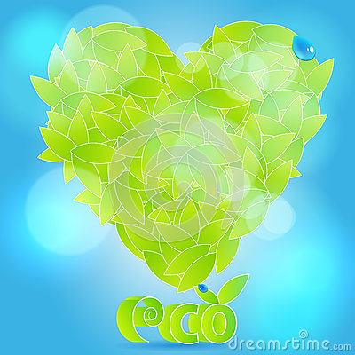 Glittering heart from leaves with waterdrops