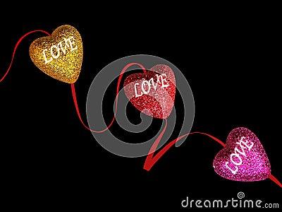 Glittering hearts of love