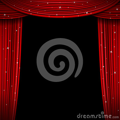 Free Glittering Red Curtain Vector Illustration. Open Glitter Curtains Background Royalty Free Stock Photography - 77587537