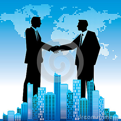 Free Global Business Background, With Businessmen  Handshaking Royalty Free Stock Images - 42857919