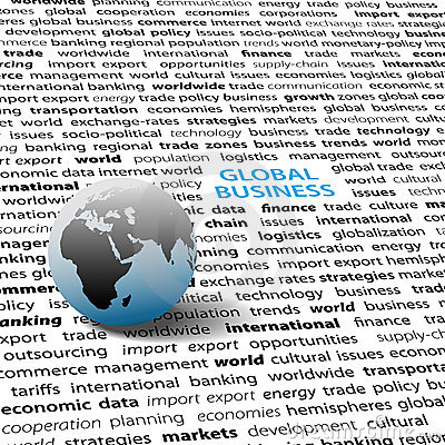 Global business issues world globe text page