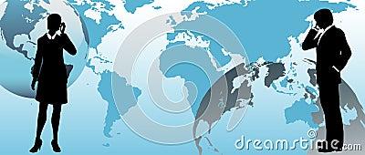 Global business people communicate across world