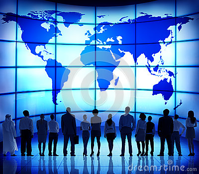 Global Business People Corporate World Map Connection Concept