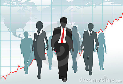 Global business people team walk chart world map