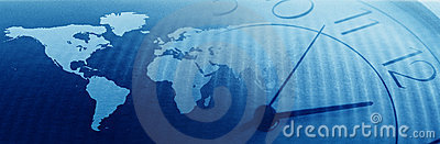 Global business, time concept banner for a website