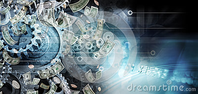 Global Cogs Money Business Background Stock Photo