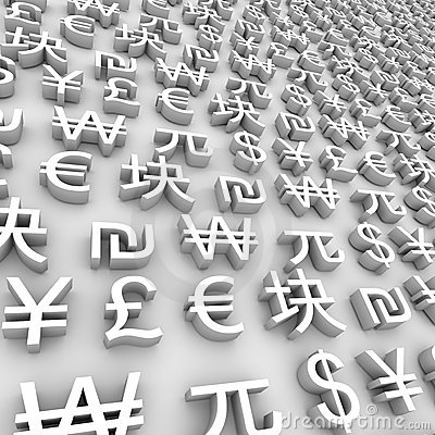 Global Currency Symbols - White