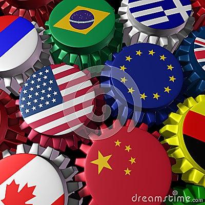 Global economy machine with U.S.A and Europe