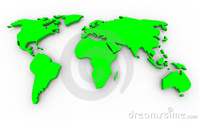 Global Map - Green on White Background
