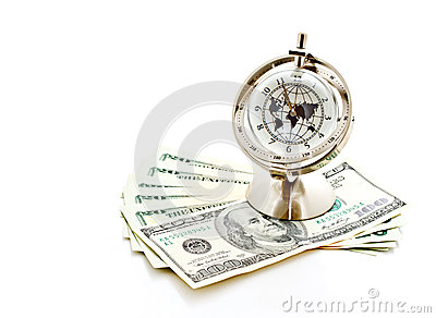 Global model clock with US banknotes 3