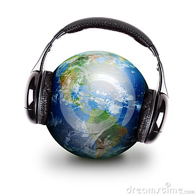 Free Global Music Headphones Earth Stock Images - 25078834