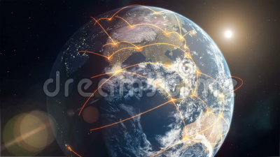 Global Network - Orange. This high quality Full HD clip shows planet Earth from space as lines of travel, communication and commerce cross the globe to create a