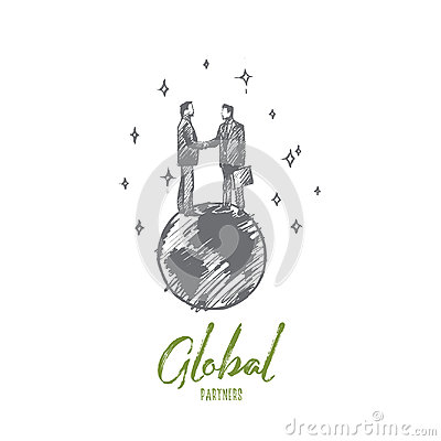 Free Global Partners Concept. Hand Drawn Isolated Vector. Royalty Free Stock Photography - 94904327