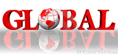Global red word and earth globe