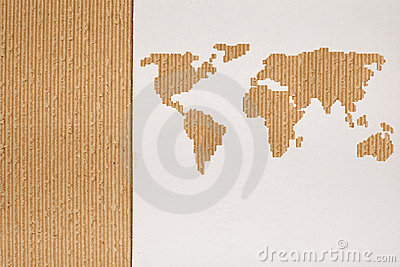 Global shipping concept with cardboard