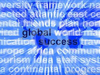 Global Success Words Showing Globalization And Business Growth W