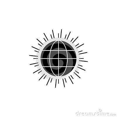 Global, sun, world icon on white background. Can be used for web, logo, mobile app, UI UX Vector Illustration