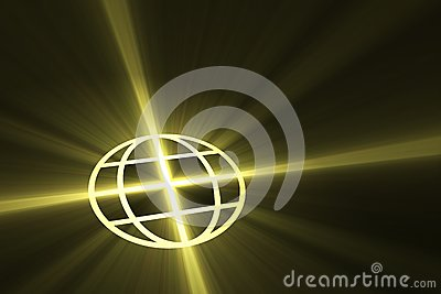 Global symbol with light flare