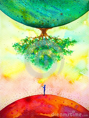 Global warming climate change abstract art spiritual mind human watercolor painting illustration design hand drawing Cartoon Illustration