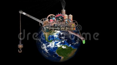 Global Warming, Climate Change, Pollution, Environment, Earth, Planet. Scene of the planet earth with global warming, climate change, and industrial pollution stock illustration
