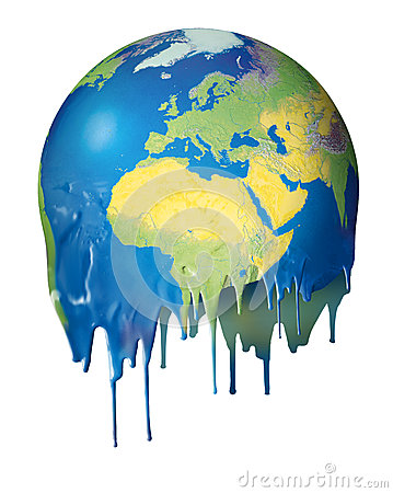 Global warming concept planet melting