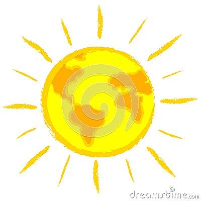 Global warming: earth-sun